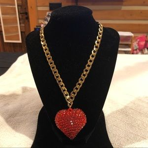 DaVinci Red Acrylic Puffy Heart Necklace